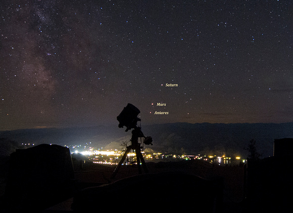 Saturn, Mars and Antares conjunction