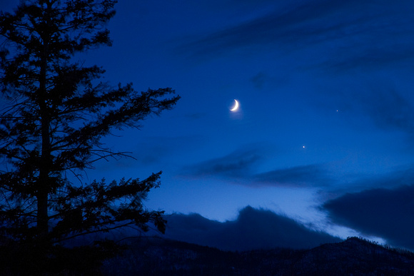 Moon, Venus, and Jupiter Conjunction