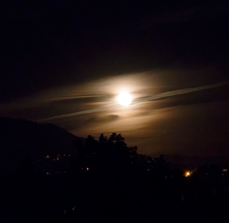 Full Moon Rising Through Cloud Over Vernon Mountain